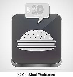 회색, 햄버거, 10, app, eps, 벡터, 아이콘, 거품, speech.