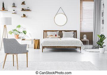 회색, 현대, 안락 의자, 조반 쟁반, 통하고 있는, a, 더블베드, 와..., 멍청한, 가구, 에서, a, 단일의, 유행, 아파트, 방, 내부, 와, 백색, 벽
