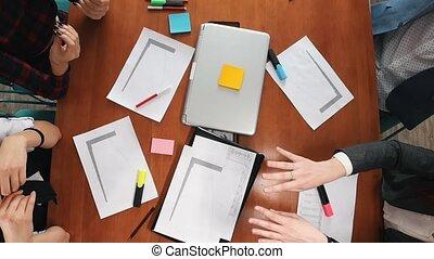 회의, 생산적인, 사업, 일, concept., 팀, 가지고 있는 것