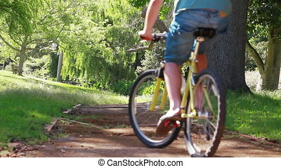 후부의 보기, 의, a, 한 쌍, 자전거를 탐