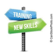 훈련, 새로운, 기술, 도로 표지, 삽화, 디자인