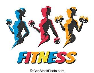 훈련, 여자, 다채로운, 적당, 상징