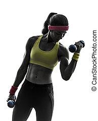 훈련, 여자, 실루엣, 무게, 연습, 운동시키는 것, 적당