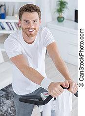 훈련, 자전거, 미소, 잘생긴, 운동, 남자