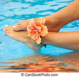휴가, concept., 다리, 에서, 그만큼, 수영 풀