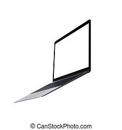 휴대용 컴퓨터, 고립된, 백색 위에서, 배경
