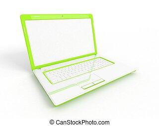휴대용 컴퓨터, 고립된, 백색 위에서