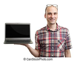 휴대용 퍼스널 컴퓨터에남자, computer., 고립된, 백색 위에서
