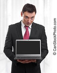 휴대용 퍼스널 컴퓨터, 검정, 스크린, 사업가
