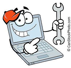 휴대용 퍼스널 컴퓨터, 사람, 보유, a, 렌치