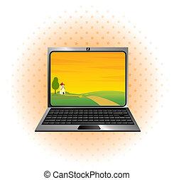 휴대용 퍼스널 컴퓨터, 아이콘, 와, 조경술을 써서 녹화하다