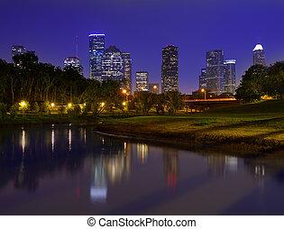 휴스턴 skyline, 일몰, 텍사스, 우리