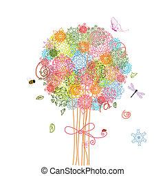 휴일, 나무, 꽃다발, 당초무늬