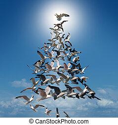 휴일, 나무, 의, 희망