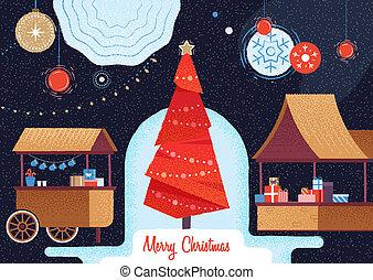 휴일, 크리스마스, 시장, fair.