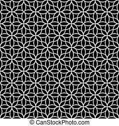 흑백이다, 떼어내다, 꽃의, seamless, 패턴