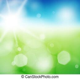 희미한, 녹색 분야, 그리고 푸른색, 하늘, 와, 여름, 태양, burst.
