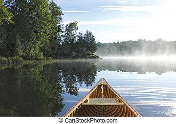 히말라야삼목, 카누, 활, 통하고 있는, a, 봄 안개가 덮인, 호수