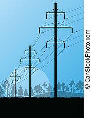 힘, 높은 전압, 전기 탑, 선, 에서, 시골, 숲, 성격 조경, 배경, 벡터