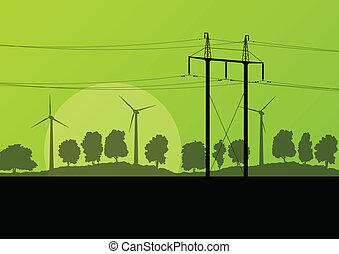 힘, 높은 전압, 전기 탑, 선, 와..., 바람, 발전기, 에서, 시골, 숲, 성격 조경, 삽화, 배경, 벡터