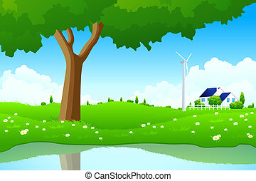 힘, 집, 나무, 역, 녹색, 바람, 조경술을 써서 녹화하다