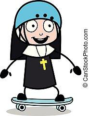 -, ábra, apáca, vektor, skateboarding, hölgy, karikatúra