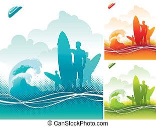 -, ábra, surfers, vektor, befog, lesiklik
