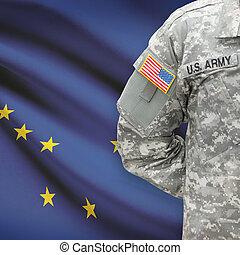 -, állam, bennünket, alaszka, katona, lobogó, háttér, amerikai