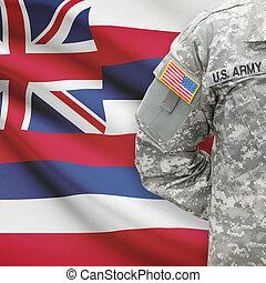 -, állam, bennünket, hawaii, katona, lobogó, háttér, amerikai
