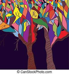 -, árvores, outono, desenho, fundo, cartão