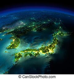 -, ásia, china, noturna, coréia, pedaço, earth., japão