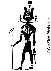-, ægypten, ancient, khensu, gud