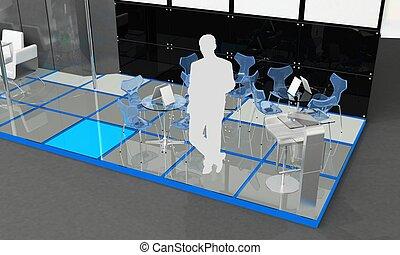 -, échantillon, exposition, extérieur, intérieur, stand