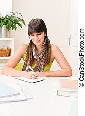 -, écrire, adolescent, étudiant, maison, girl, devoirs