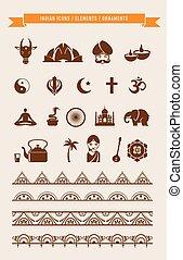 -, éléments, inde, collection, icônes