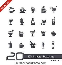 --, élémentsessentiels, boissons, icônes