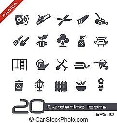 --, élémentsessentiels, jardinage, icônes