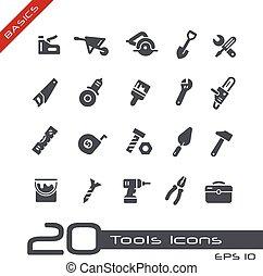 --, élémentsessentiels, outils, icônes