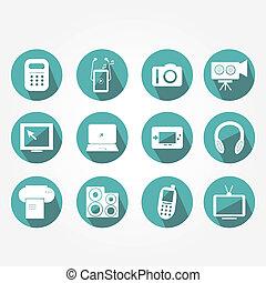 -, électronique, icônes