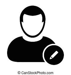 -, ícone, modificar, editar, usuário