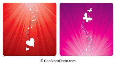&, -, ünnepek, pillangók, vektor, tervezés, piros