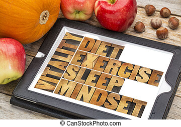 -, żywotność, dieta, sen, ruch, mindset