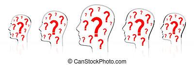 - , βαθμολογία , κεφάλι , 3d , αναπτύσσομαι , εικόνα , ερώτηση