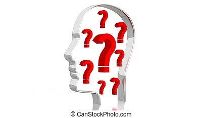 - , βαθμολογία , κεφάλι , 3d , εικόνα , ερώτηση , σχήμα