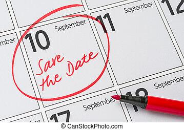 - , γραμμένος , 10 , ημερολόγιο , αποταμιεύω , σεπτέμβριοs , ημερομηνία