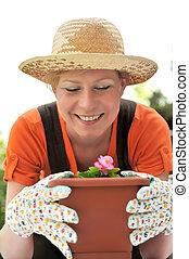 - , γυναίκα , κηπουρική , νέος