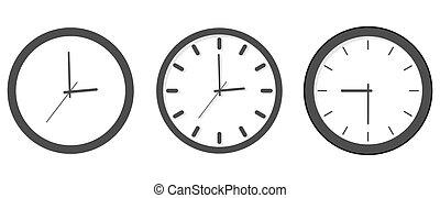 - , θέτω , απομονωμένος , ρολόι , περίγραμμα , illustration., εικόνα , μικροβιοφορέας