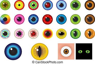- , μάτια , στοιχεία , σχεδιάζω , με πολλά χρώματα