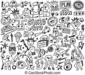 - , παιγνίδια , ηλεκτρονικός υπολογιστής , θέτω , doodles