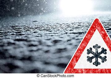 - , προσοχή , χειμώναs , οδήγηση , χιόνι
